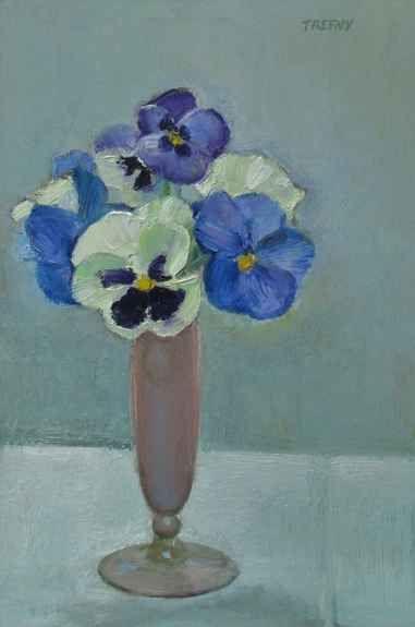"Frank Trefny, Pansies In A Pink Vase 12"" x 8""  Oil On Panel"
