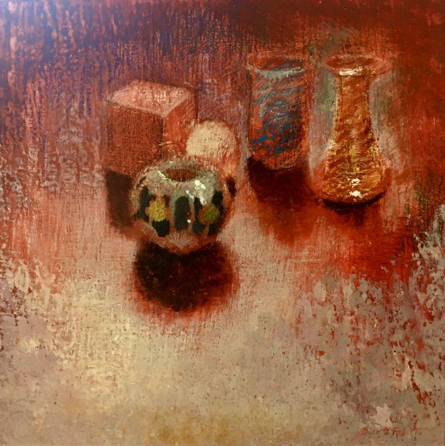 "Dale O. Roberts, On Red Orange  24"" x 24""  Encaustic"