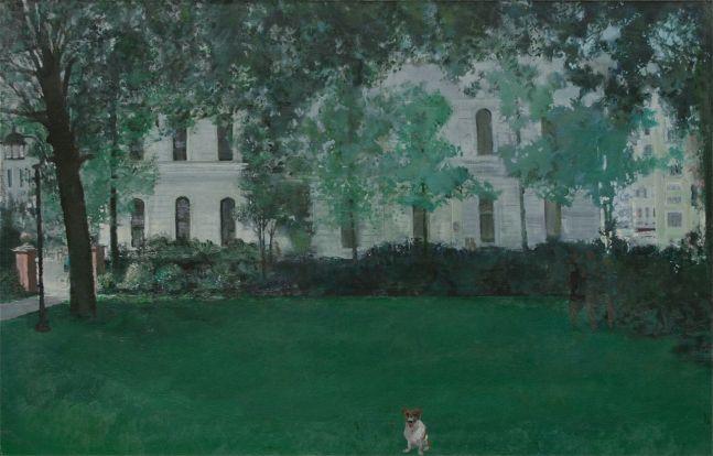 """James Stewart, Dog In Park 25"""" x 40""""  Oil On Canvas"""