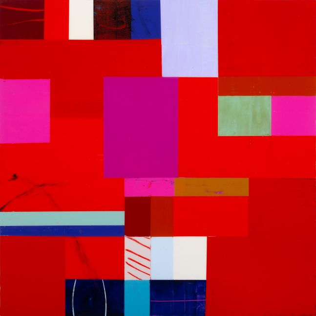 """Val Rossman, Been Dropped Into 12"""" x 12""""  Acrylic On Panel"""