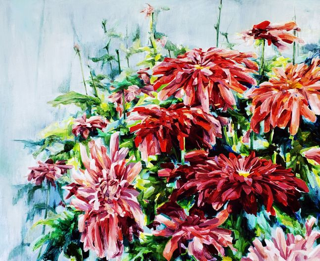 """Naomi Chung, Red Mums  44"""" x 54""""  Oil On Canvas"""