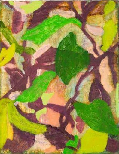 "Rebekah Callaghan, Dye-Leaves  14"" x 11""  Oil On Canvas"