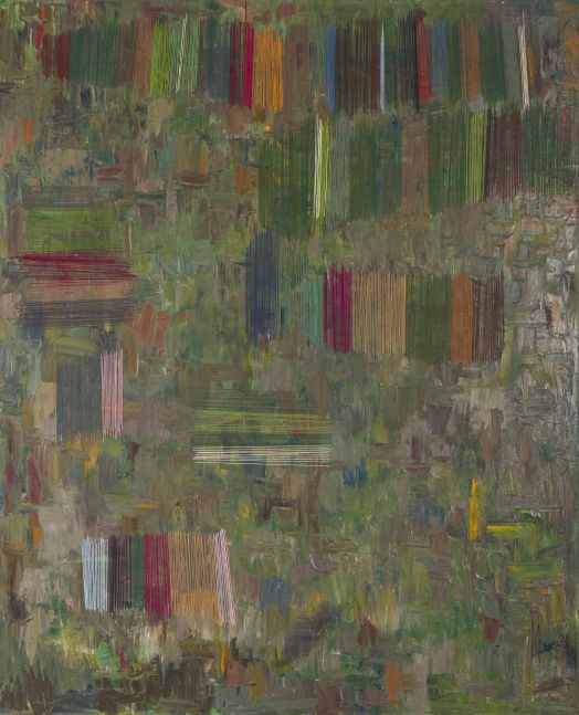 "Natasha Das, Untitled Green  60"" x 48""  Oil And Thread On Canvas"