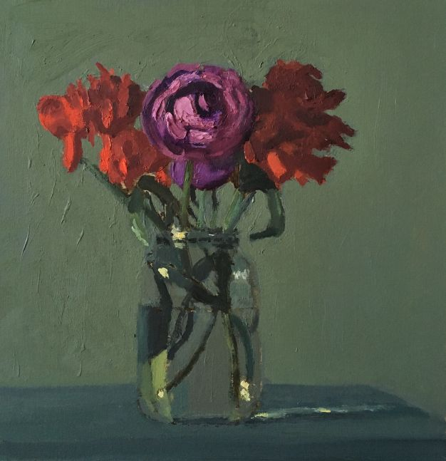 Giovanni Casadei, Red and Purple, oil on panel,  10.5 x 10 inches