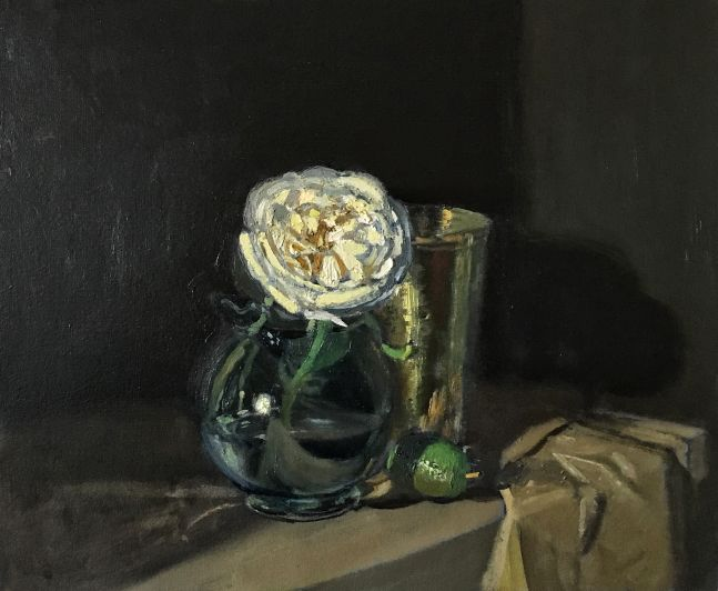 """Giovanni Casadei, White Rose and Lime 10.5"""" x 12.5""""  Oil On Panel"""