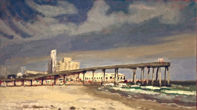 Giovanni Casadei, The Fishing Pier in the Afternoon oil on panel,  8 x 13.5 inches