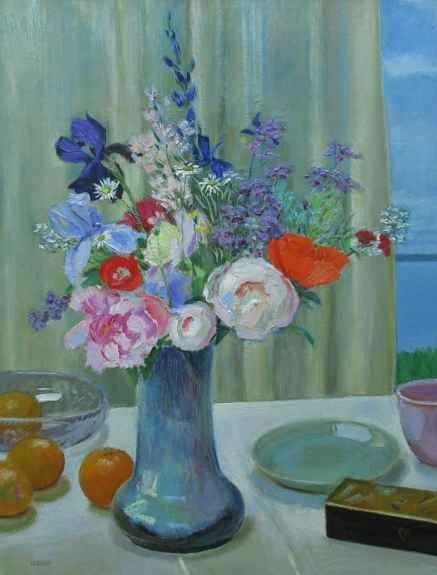 "Frank Trefny, Still Life With Shodai Vase Bouquet 32"" x 24""  Oil On Panel"