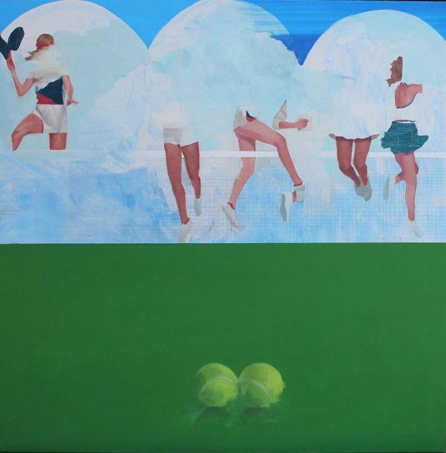 """Joseph Lozano, Two Balls  38"""" x 36""""  Oil On Board"""