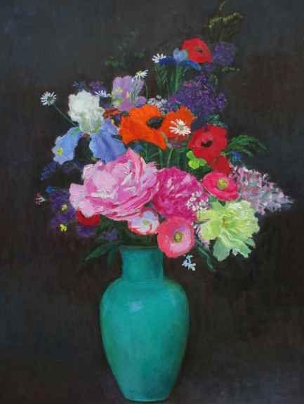 "Frank Trefny, Fulper Night Bouquet 32"" x 24""   Oil On Panel"