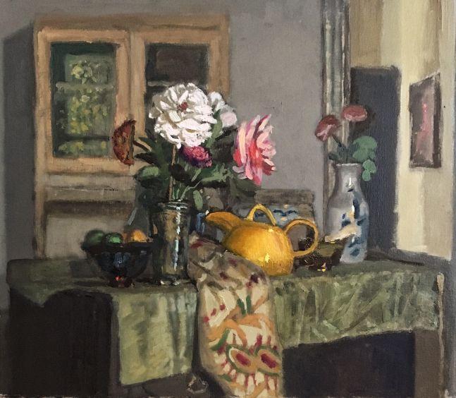 "Giovanni Casadei, Yellow Teapot  14"" x 16""  Oil On Panel"