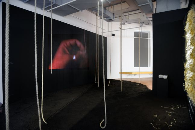 Omolara Williams McCallister Where Do Monuments Go to Die?, 2020  2:45 minutes projection, hemp rope, compost soil