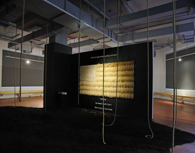 Omolara Williams McCallister Noose Nap Flag, 2020  Sisal twine, hemp twine, staples, and plywood 48 x 96 inches