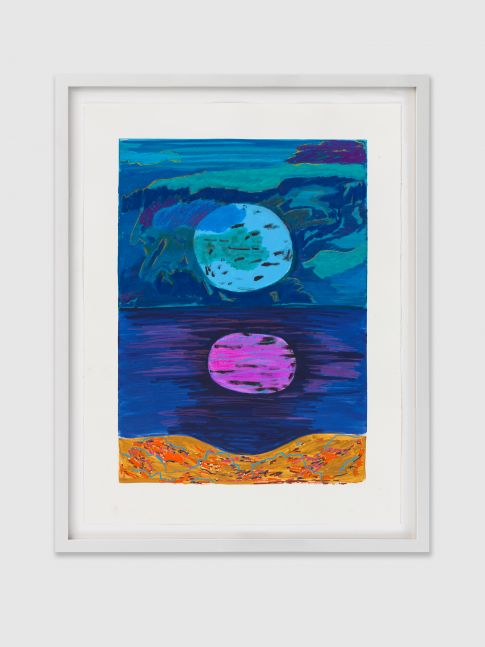 FULL MOON COVE 2 2020 Printed ink and mixed media on paper Image 98 x 73.5 cm / 38 1/2 x 29 in Frame 107 x 82.5 x 4 cm / 42 1/8 x 32 1/2 x 1 5/8 in
