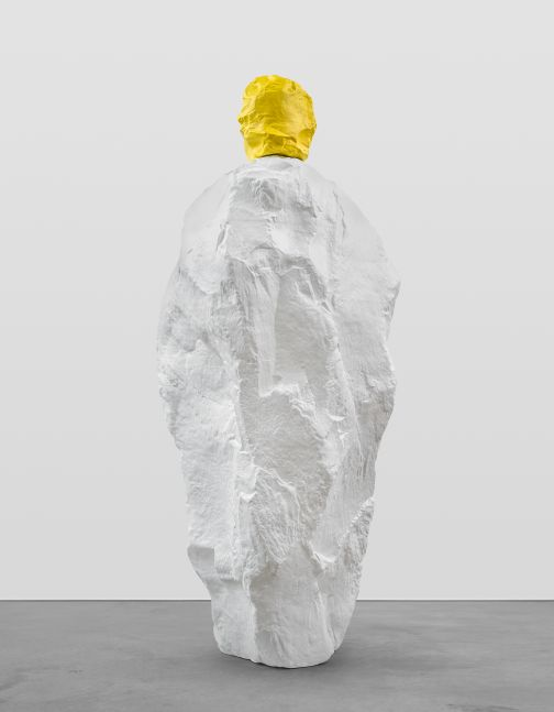 YELLOW WHITE MONK  2020 Painted bronze 295 x 93 x 125 cm / 116 1/8 x 36 5/8 x 49 1/4 inches