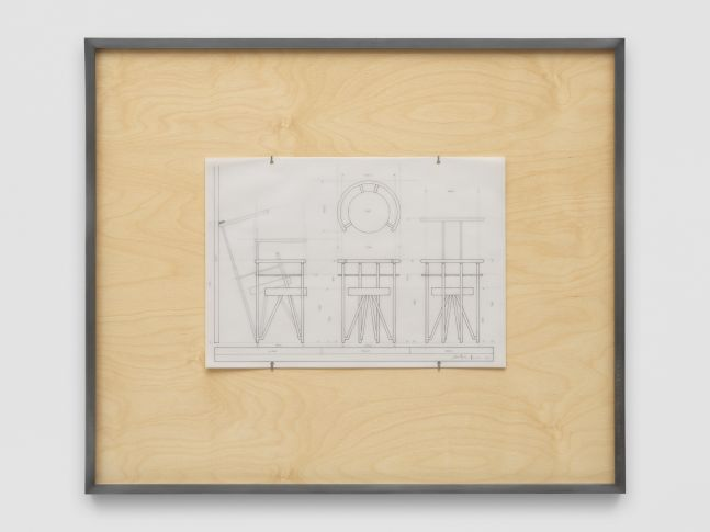 NLF / CH01 2020 Patinated steel, stained plywood, pen, tracing paper 75.5 x 64 x 4 cm / 29 5/8 x 25 1/4 x 1 5/8 in