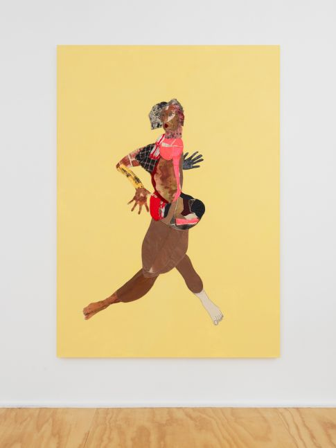 FAST GIRL  2020  Fabric, charmeuse, silk, velvet, paper, pigment, acrylic, and painted   213.5 x 152.5 x 4 cm / 84 x 60 x 1 1/2 inches