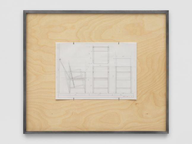NLF / CH06 2020 Patinated steel, stained plywood, pen, tracing paper 75.5 x 64 x 4 cm / 29 5/8 x 25 1/4 x 1 5/8 in