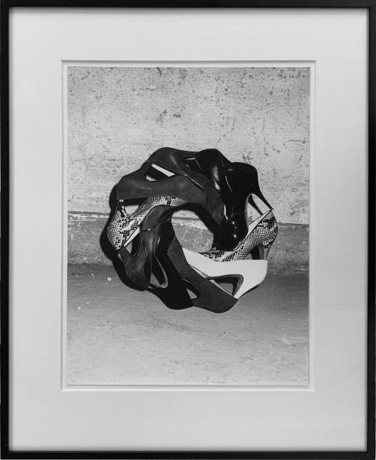 PETER FISCHLI / DAVID WEISS  Masturbine (Equilibres Serie)   1985 Gelatin silver print Ed. 3/3  Image 40 x 30.5 cm / 15 7/8 x 12 in Frame 57.5 x 46.5 cm / 22 5/8 x 18 1/4 in  FISCW45455