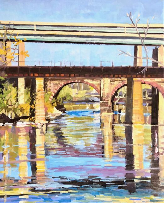 "Bridges On The Schuylkill  20"" x 16""  Oil On Canvas"