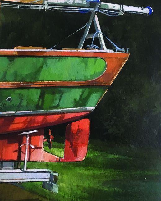 "Douglas Martenson, Boat 22"" x 15""  Oil On Board"
