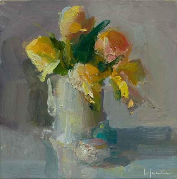 """Tulips And Sea Salt Jar  8"""" x 8""""  Oil On Linen"""