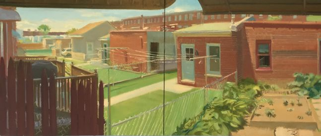 """Backyards with Clotheslines  26"""" x 50""""  Oil On Linen"""