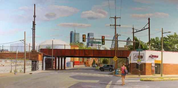 """View From Gray's Ferry   24"""" x 48""""  Oil On Canvas"""