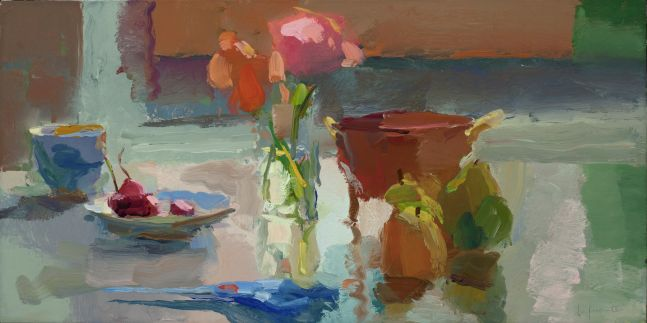 """Cherries, Roses and Pears, Contra Jour  12"""" x 24""""  Oil On Linen"""