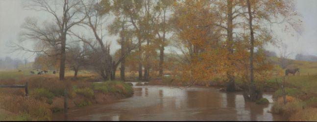 """November Fog  24"""" x 62""""  Oil On Canvas"""