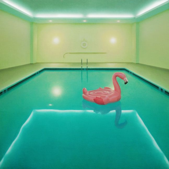 """The Pool Party  30"""" x 30""""  Oil On Linen Mounted On Panel"""