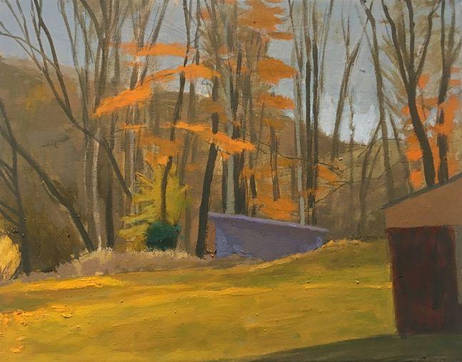 Celia Reisman, Sharon Sheds, oil on canvas, 11 x 14 inches
