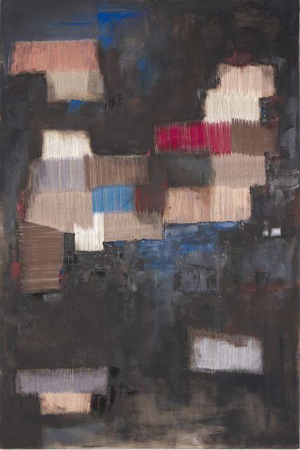 "Black  72"" x 48""  Oil And Thread On Canvas"