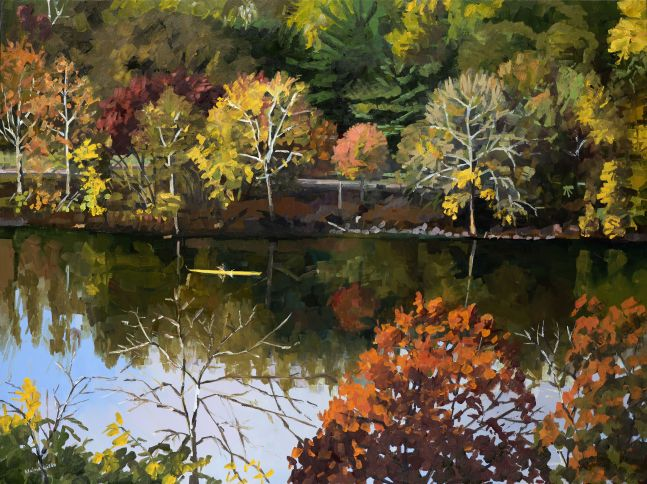 """River From Above  30"""" x 40""""  Oil On Canvas"""