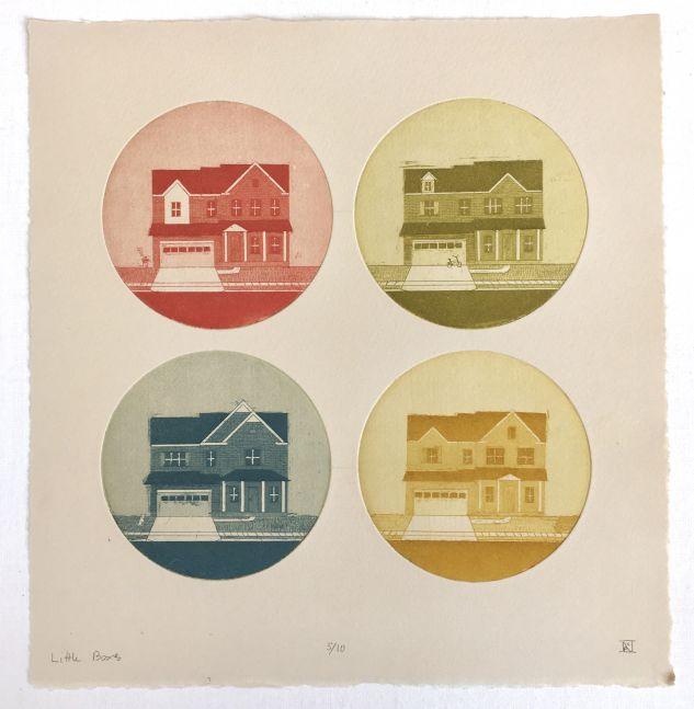 """Little Boxes  10"""" x 10""""  Four-Plate Aquatint"""