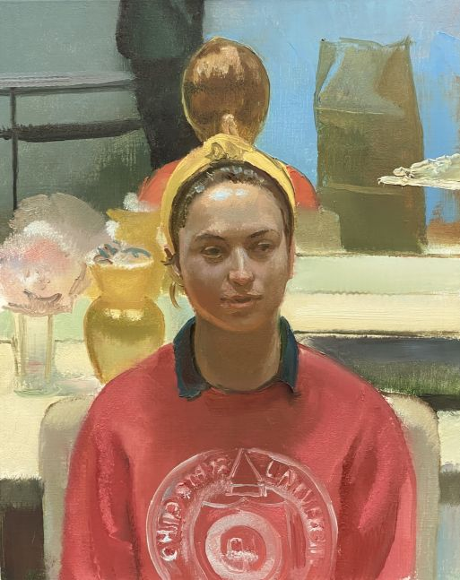 "Portrait Of Katie With Mirror  30"" x 24""  Oil On Linen"