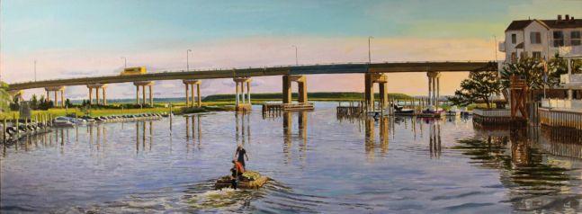 "Dock Builders  20"" x 54""  Oil On Canvas"