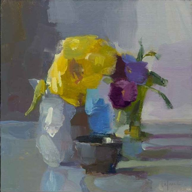 """Pansies And Yellow Dahlia  10"""" x 10""""  Oil On Mounted Linen"""