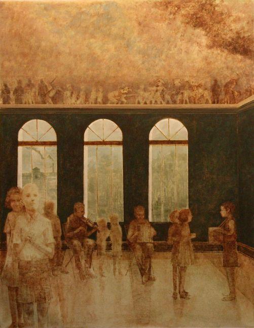 "Practice Room (Brundibar Series)  55"" x 44""  Oil On Canvas"