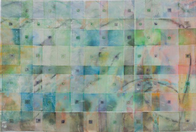 "Spiel  26"" x 39""  Acrylic And Thread On Silk"