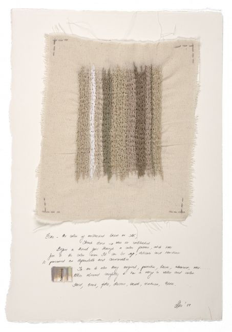 """Study Tan  15"""" x 11""""  Thread, Colored Pencil, Graphite On Muslin And Paper"""