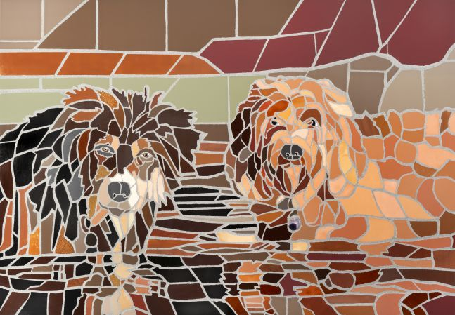 """Jonathan Mandell, Two Dogs In Water 40"""" x 28"""" x 2""""  Ceramic Tile, Copper, And Amethyst"""