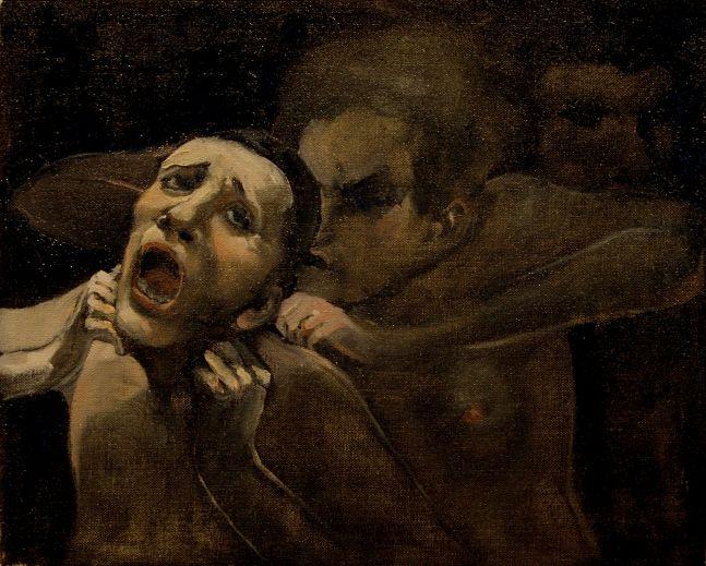"""Murder  12"""" x 15""""  Oil On Canvas"""