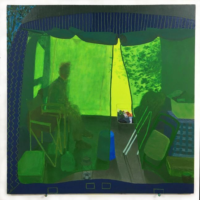 """Leigh Werrell, Camping With Henry  28"""" x 28""""  Oil On Canvas"""
