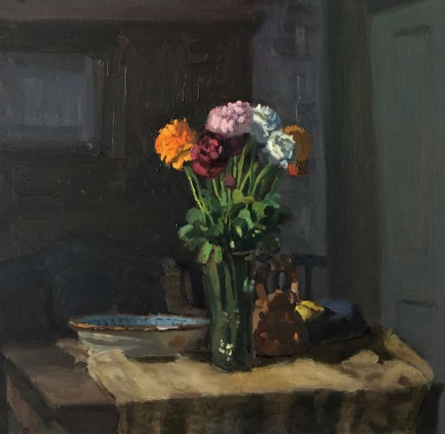 "Ranunculus And French Plate  12.5"" x 13""  Oil On Panel"