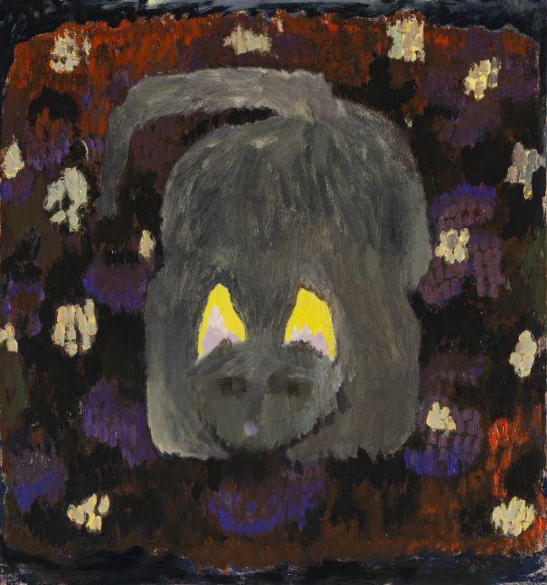 "Morgan Hobbs, Scaredy Cat - Purple Pillow  30.5 x 28.5""  Oil On Canvas"
