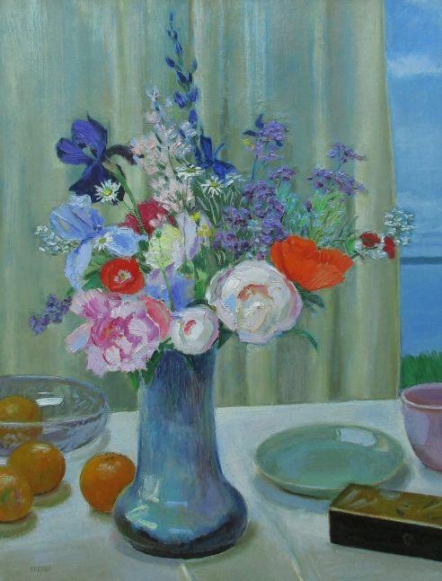 "Still Life With Shodai Vase Bouquet   32"" x 24""   Oil On Panel"