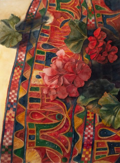 """Geraniums On Antique Indian Fabric  40"""" x 29""""  Watercolor"""