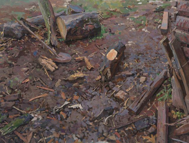 "Caleb Stolzfus, Untitled  14.5"" x 17""  Gouache On Panel"