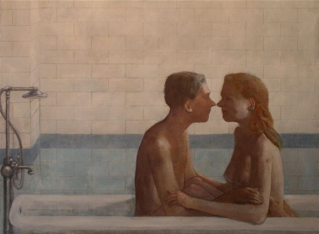 """Lovers (Deaf Republic Series)  41"""" x 46""""  Oil On Canvas"""