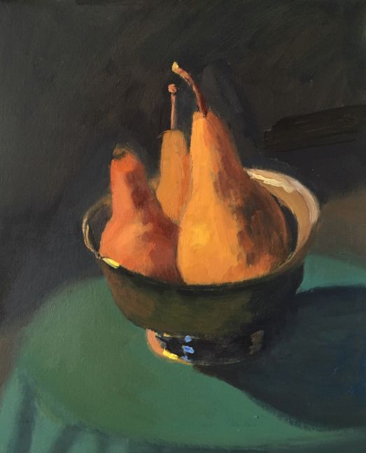 """Pears In A Silver Bowl  9.5"""" x 8""""  Oil On Panel"""